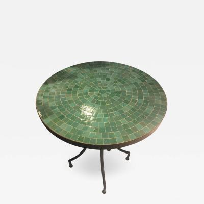 Atlas Showroom Moroccan Micro Mosaic Turquoise Green Tabletop on a Wrought Iron Base