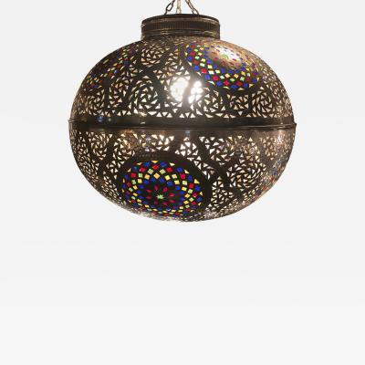 Atlas Showroom Moroccan Silver Handmade Moorish Pendant or Chandelier with Multi Color Glass
