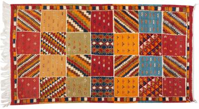 Atlas Showroom Moroccan Tribal Handwoven Organic Wool and Natural Die Multi Color Rug