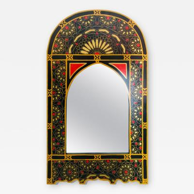 Atlas Showroom Moroccan Wall or Vanity Mirror in Black Red and Gold