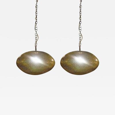 Atlas Showroom Oval Shaped Modern Gold Brass Pendant Chandeliers Pair