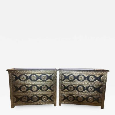 Atlas Showroom Pair Brass Ebony Hollywood Regency Style Moroccan Commodes Chests Nightstands