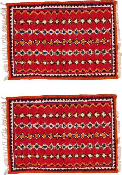 Atlas Showroom Pair of Berber Rugs Small with Handwoven Wool
