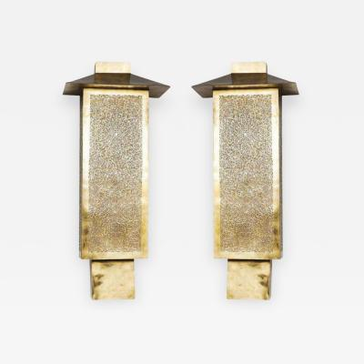 Atlas Showroom Pair of Brass Tall Wall Sconces
