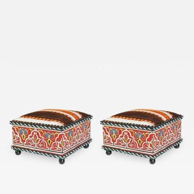 Atlas Showroom Pair of Hand Painted Moroccan Low Seat Foot Stools Ottomans