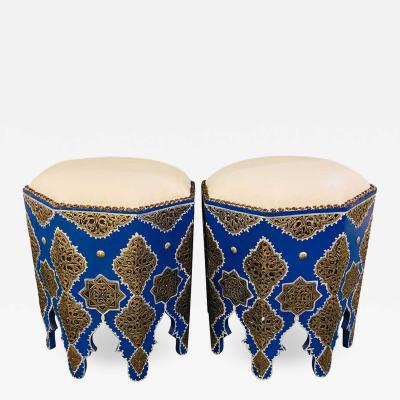 Atlas Showroom Pair of Handmade Moroccan White Brass on Wood Ottomans White Leather Top