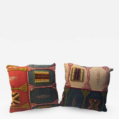 Atlas Showroom Pair of Handwoven Tribal Wool Vintage Kilim Cushions or Pillows