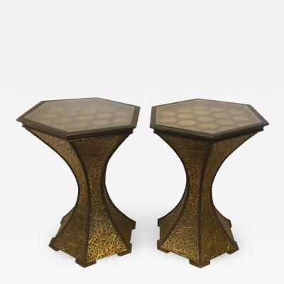 Atlas Showroom Pair of Hexagon Inlaid Gold Brass and Wood Black End or Side Lamp Tables