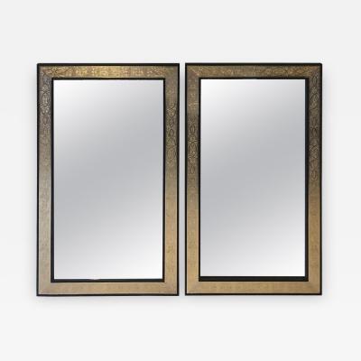 Atlas Showroom Pair of Hollywood Regency Brass over Wood Moroccan Black Mirrors
