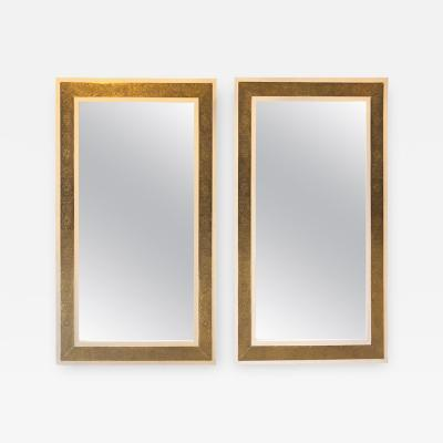 Atlas Showroom Pair of Hollywood Regency Style Brass on Wood Frame in White Wall Mirrors