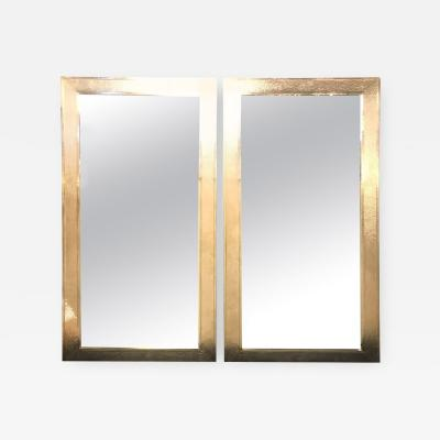 Atlas Showroom Pair of Mid Century Modern Style White Brass Wall Floor or Console Mirrors