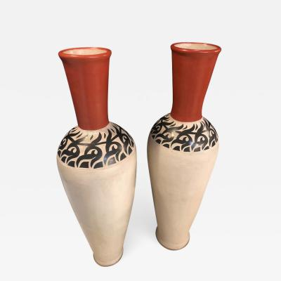 Atlas Showroom Pair of Monumental Decorative Moroccan Pottery Vase or Urn