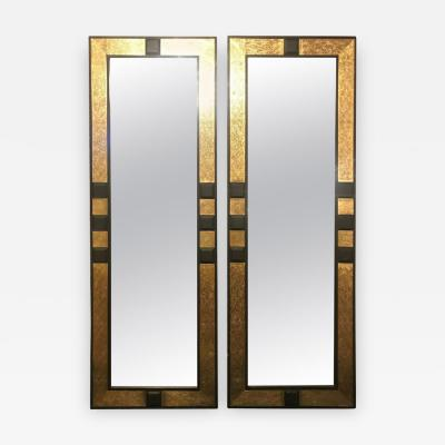 Atlas Showroom Pair of Moroccan Gold Brass and Ebony Wood Framed Pier or Console Mirrors