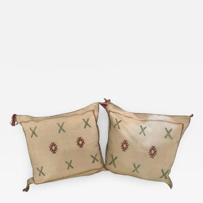 Atlas Showroom Pair of Moroccan Hand Loomed Wool Pillows
