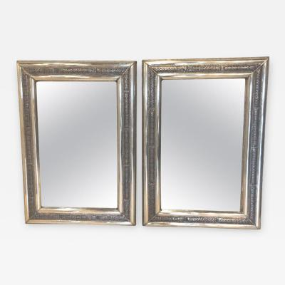 Atlas Showroom Pair of Moroccan Hollywood Regency Style Silver Brass Console or Wall Mirrors
