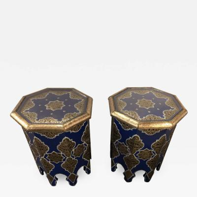 Atlas Showroom Pair of Moroccan Silver Metal Brass Inlaid Side Tables in Blue Majorelle