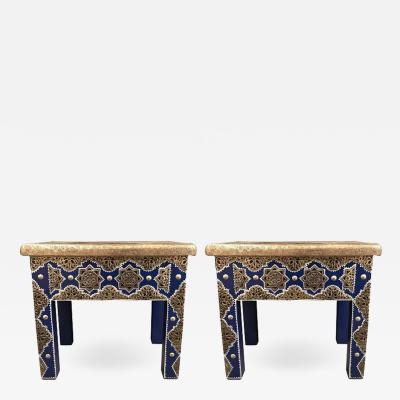 Atlas Showroom Pair of Moroccan Silver Metal Inlaid Blue Rectangle Side Table