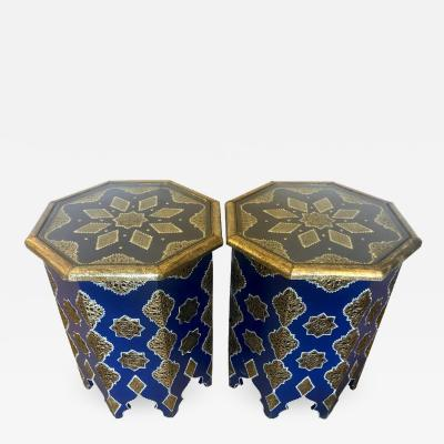 Atlas Showroom Pair of Moroccan Silver Metal and Brass Inlaid Side Tables in Blue Majorelle