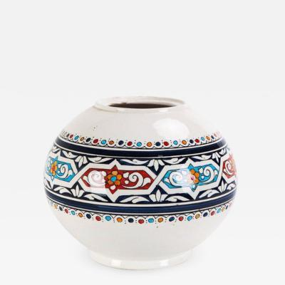 Atlas Showroom Safi Round Moorish White and Blue Vase
