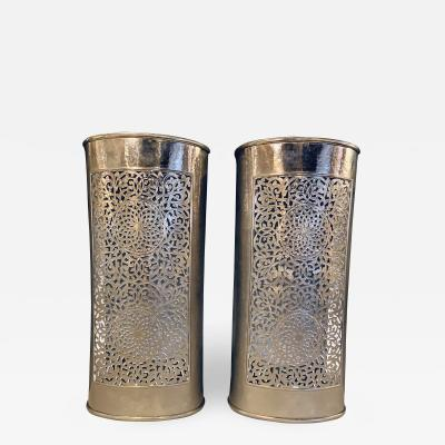 Atlas Showroom Silver Brass Modern Moroccan Wall Lanterns Sconces in Filigree Design a Pair