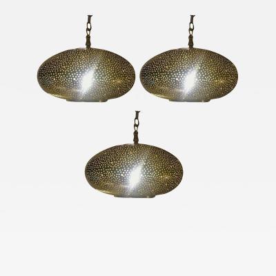 Atlas Showroom Small Oval Gold Brass Modern Pendant Chandeliers Set of Three