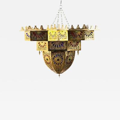 Atlas Showroom Tiffany Co Fashioned Brass and Colored Glass Chandelier