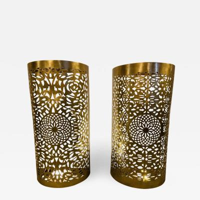 Atlas Showroom Wall Lanterns or Sconces Modern Moroccan in Brass with Filigree Design a Pair