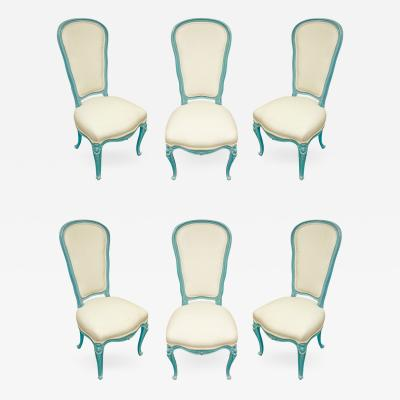 Auffray Furniture Set of 6 Chic Louis XV Blue Lacquer Dining Chairs 1970