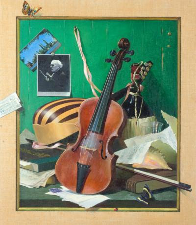 August Albo Trompe L oeil Still Life with Violin