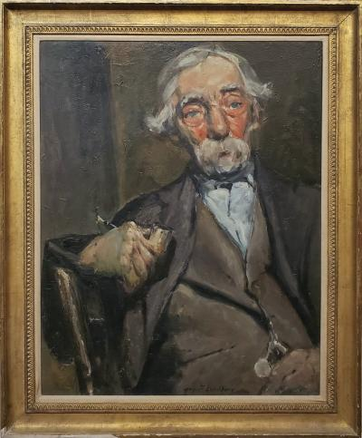 August Frederick Lundberg Old Man With A Pipe a Portrait Oil Painting by August F Lundberg