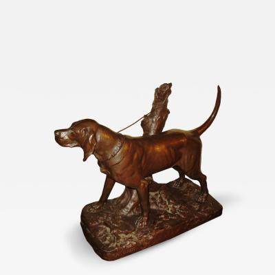 Auguste Cain Larger Bronze Hunting Dog By Auguste Cain