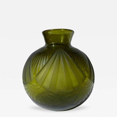 Auguste Claude Heiligenstein Art Deco Moss Green Glass Vase Signed Legras