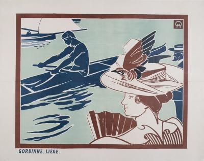 Auguste Donnay Belgian Turn of the Century Regatta Poster by Auguste Donnay 1895