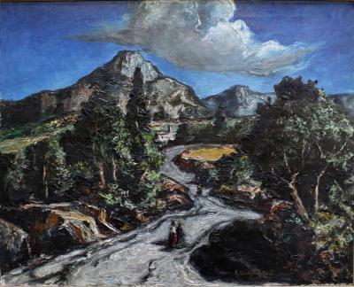 Auguste Durande Rose Mountain Village Landscape by French Artist Auguste Durand Rose