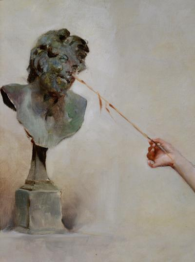 Auguste Emile Pinchart La Fille de la Nymphe 19th Century French Belle Epoque Oil Painting