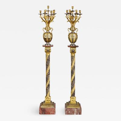 Auguste Lacarri re P re Fils et Companie A Fine Quality Pair of Large French Gilt and Silvered Bronze Torch res