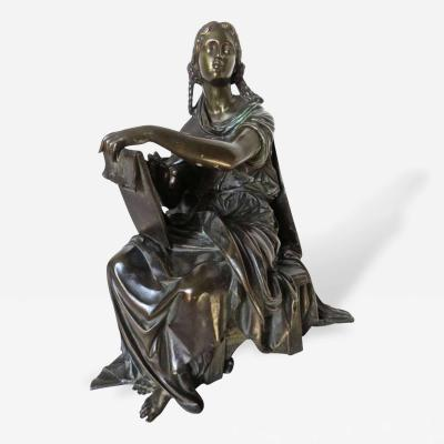 Auguste Moreau 19th Century Bronze by Moreau Sitting Figure of a Lady Student or Scholar