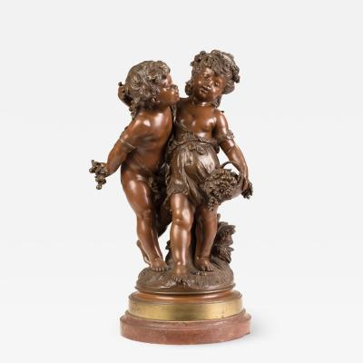 Auguste Moreau A Fine Quality Patinated Bronze Figures of Children with a Basket of Grapes