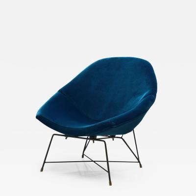 Augusto Bozzi Augusto Bozzi Kosmos Chair for Saporiti in Blue Velvet Italy 1954