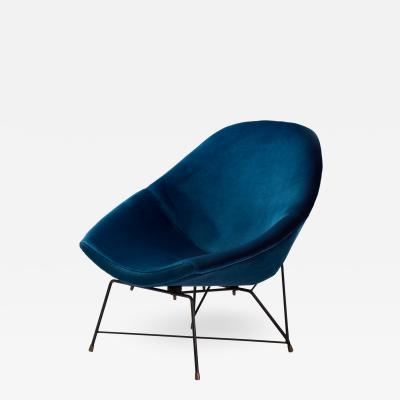 Augusto Bozzi Augusto Bozzi Kosmos Chair for Saporiti in blue velvet Italy 1956