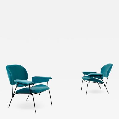 Augusto Bozzi Augusto Bozzi pair of rare 1950s armchairs produced by Saporiti Italia