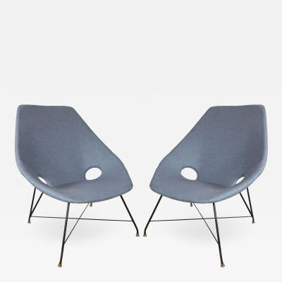 Augusto Bozzi BLUE LINEN CHAIRS BY AUGUSTO BOZZI
