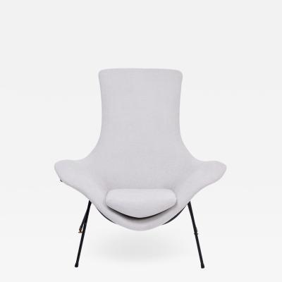Augusto Bozzi Grey Italian Mid Century Modern Lounge Chair by Augusto Bozzi for Saporiti