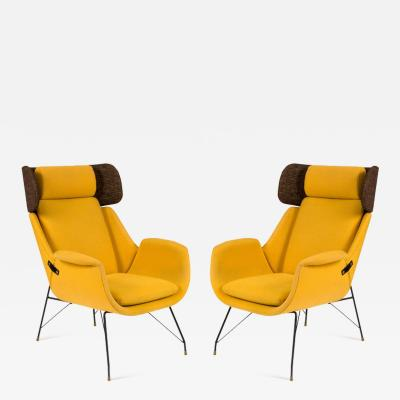 Augusto Bozzi High Back Yellow Lounge Chairs by Augusto Bozzi for Saporiti