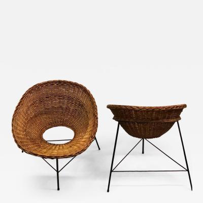 Augusto Bozzi Italian Midcentury Iron and Rattan Lounge Chairs Augusto Bozzi Attributed Pair