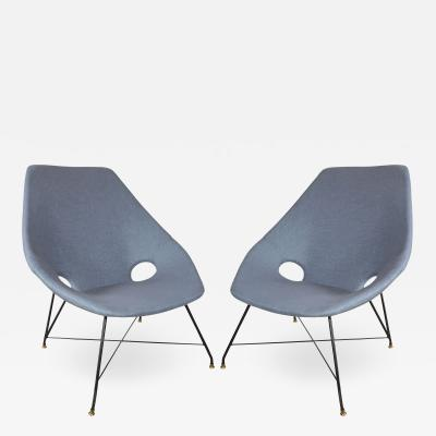 Augusto Bozzi PAIR OF BLUE LINEN CHAIRS BY AUGUSTO BOZZI FOR FRATELLI SAPORITI