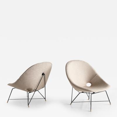 Augusto Bozzi Pair of Augusto Bozzi Kosmos Lounge Chairs for Saporiti Italy 1956