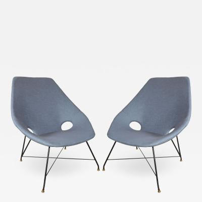 Augusto Bozzi Pair of Blue Linen Chairs by Augusto Bozzi
