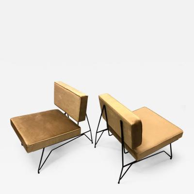 Augusto Bozzi Pair of Mid Century Modern Cantilevered Lounge Chairs Augusto Bozzi Attributed