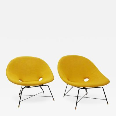 Augusto Bozzi Pair of Mid Century Modernist Lounge Chairs by Augusto Bozzi for Saporiti